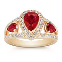 Pear Shaped Ruby and Round Diamond Ring