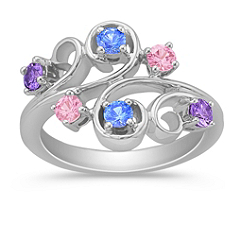 Round Multi-Colored Sapphire Ring