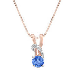 Round Kentucky Blue Sapphire and Diamond Pendant in Rose Gold (18 in.)