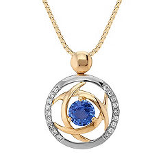 Round Kentucky Blue Sapphire and Diamond Circle Pendant in Two-Tone Gold (18 in.)