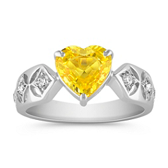 Heart Shaped Yellow Sapphire and Round Diamond Ring