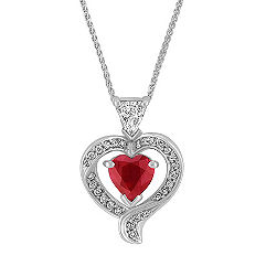 Heart Shaped Ruby, Shield and Round Diamond Pendant (22 in.)
