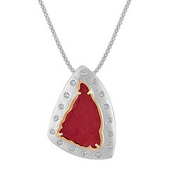 Polished Rough Ruby Slab and Round Diamond Pendant in Two-Tone Gold (22 in.)