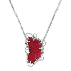 Polished Rough Ruby Slab and Round Diamond Pendant (22 in.)