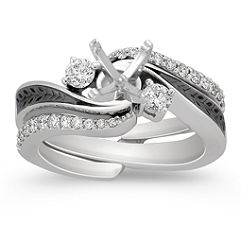Diamond Wedding Set with Pavé Setting for Her