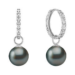 10mm Cultured Tahitian Pearl Hoop Earrings