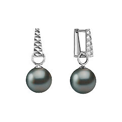 9mm Cultured Tahitian Pearl Hoop Earrings