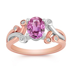 Oval Pink Sapphire and Diamond Ring in Two-Tone Gold
