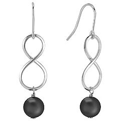 Black Agate and Sterling Silver Infinity Earrings