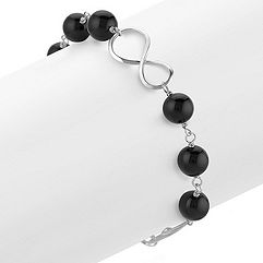 Black Agate and Sterling Silver Infinity Bracelet (8)