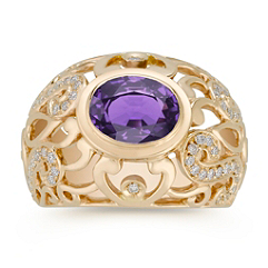 Oval Lavender Sapphire and Diamond Ring