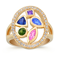 Multi-Shaped and Multi-Colored and Diamond Ring
