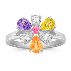 Round Pink Sapphire, Multi-Colored Pear Shaped Sapphire, and Round Diamond Ring
