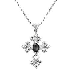 Sterling Silver and Black Agate Cross Pendant (18 in.)