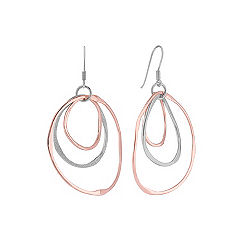 Sterling Silver & Rose Dangle Earrings