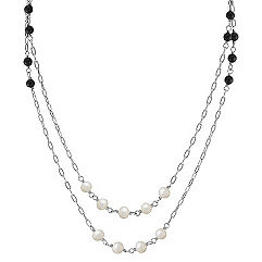 5mm Cultured Freshwater Pearl, Black Agate and Sterling Silver Necklace (47)