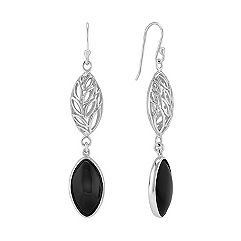 Black Agate and Sterling Silver Earrings