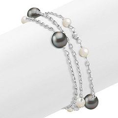 5-10mm Cultured Tahitian and Freshwater Pearl Bracelet in Sterling Silver (7.5 in.)