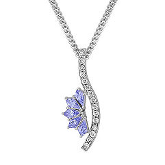 Kite Shaped Ice Blue Sapphire and Round Diamond Pendant (18 in.)