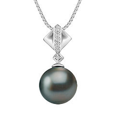 10mm Cultured Tahitian Pearl and Round Diamond Pendant (18 in.)