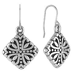 Antique Engraved Sterling Silver Earrings