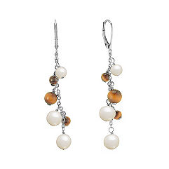 Tiger's Eye, Pearl and Sterling Silver Earrings