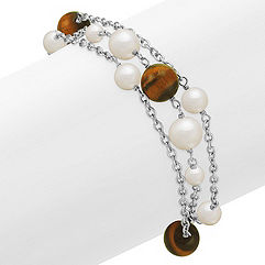 5-9mm Cultured Freshwater Pearl, Tiger's Eye, and Sterling Silver Bracelet (8 in.)
