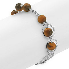 Tiger's Eye and Sterling Silver Bracelet (8)
