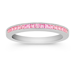 Princess Cut Pink Sapphire Channel Set Anniversary Band