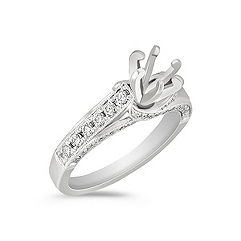 Cathedral Round Diamond Engagement Ring in Platinum
