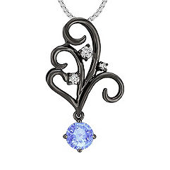 Round Ice Blue Sapphire and Diamond Pendant (18)