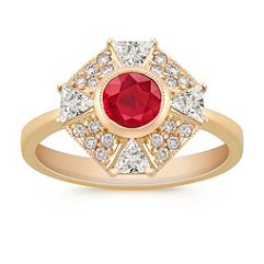 Round Ruby and Trillion and Round Diamond Octagon Ring