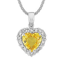 Heart Shaped Yellow Sapphire with Baguette and Round Diamonds Pendant (22 in.)