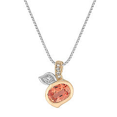 Oval Peach Sapphire, Calla Cut and Round Diamond Pendant in Two-Tone Gold (18 in.)