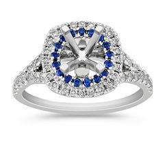 Diamond and Sapphire Engagement Ring with Pavé Setting