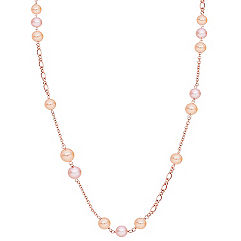 8mm Multi-Colored Cultured Pearl and Sterling Silver Necklace (36 in.)