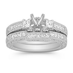 Vintage Princess Cut Diamond Platinum Wedding Set with Channel Setting