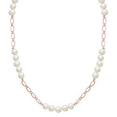 8mm Cultured Freshwater Pearl and Sterling Silver Necklace (40 in.)
