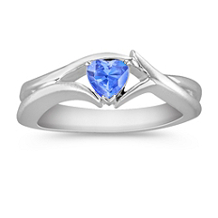 Heart Shaped Kentucky Blue Sapphire Ring in Sterling Silver