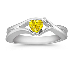 Heart Shaped Yellow Sapphire Ring in Sterling Silver