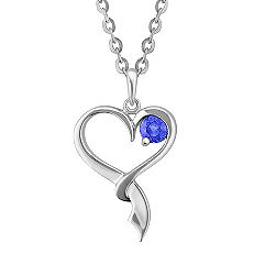Round Kentucky Blue Sapphire and Sterling Silver Sweetheart Pendant (18)
