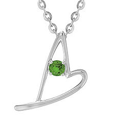 Round Green Sapphire and Sterling Silver Sweetheart Heart Pendant (18 in.)