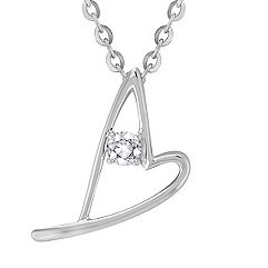 Round White Sapphire and Sterling Silver Sweetheart Heart Pendant (18 in.)