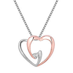 Round Diamond and Sterling Silver Sweetheart Pendant (18 in.)