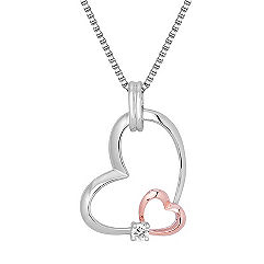 Round Diamond and Sterling Silver Sweetheart Pendant (18)