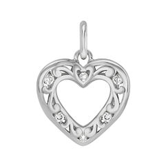 Round Diamond Heart Charm