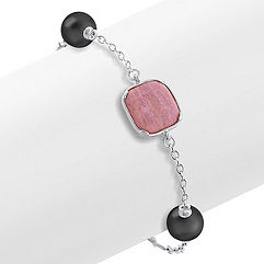 Blush Stone, Black Agate and Sterling Silver Bracelet (8 in.)