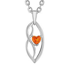 Heart-Shaped Orange Sapphire and Sterling Silver Pendant (18 in.)
