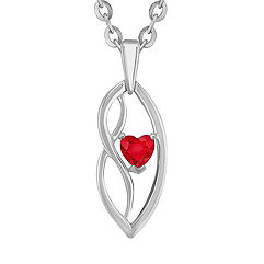 Heart-Shaped Ruby and Sterling Silver Pendant (18 in.)