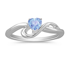 Heart Shaped Ice Blue Sapphire Ring in Sterling Silver